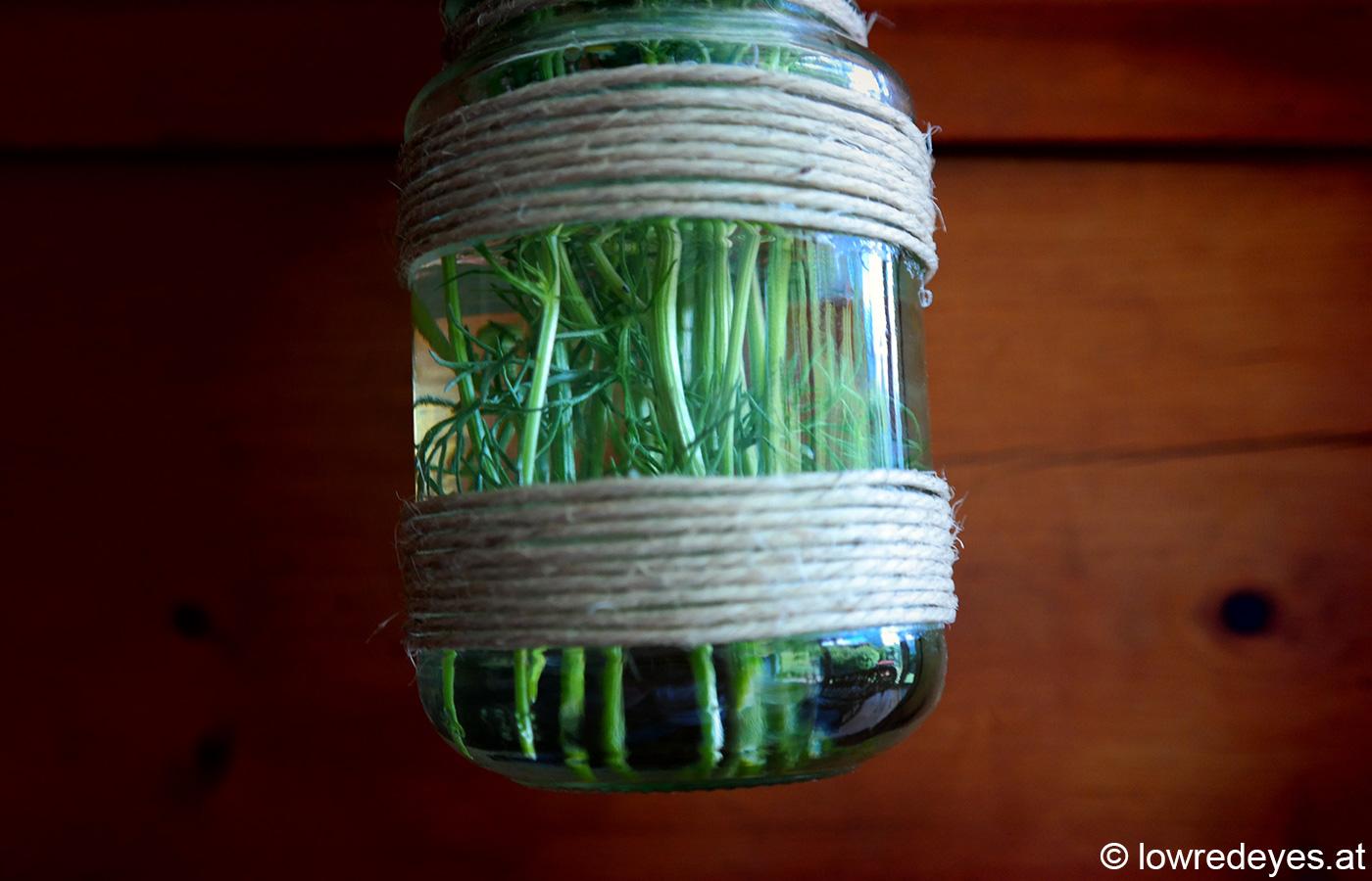 Upcycling Hängevase aus Marmeladenglas und Paketschnur