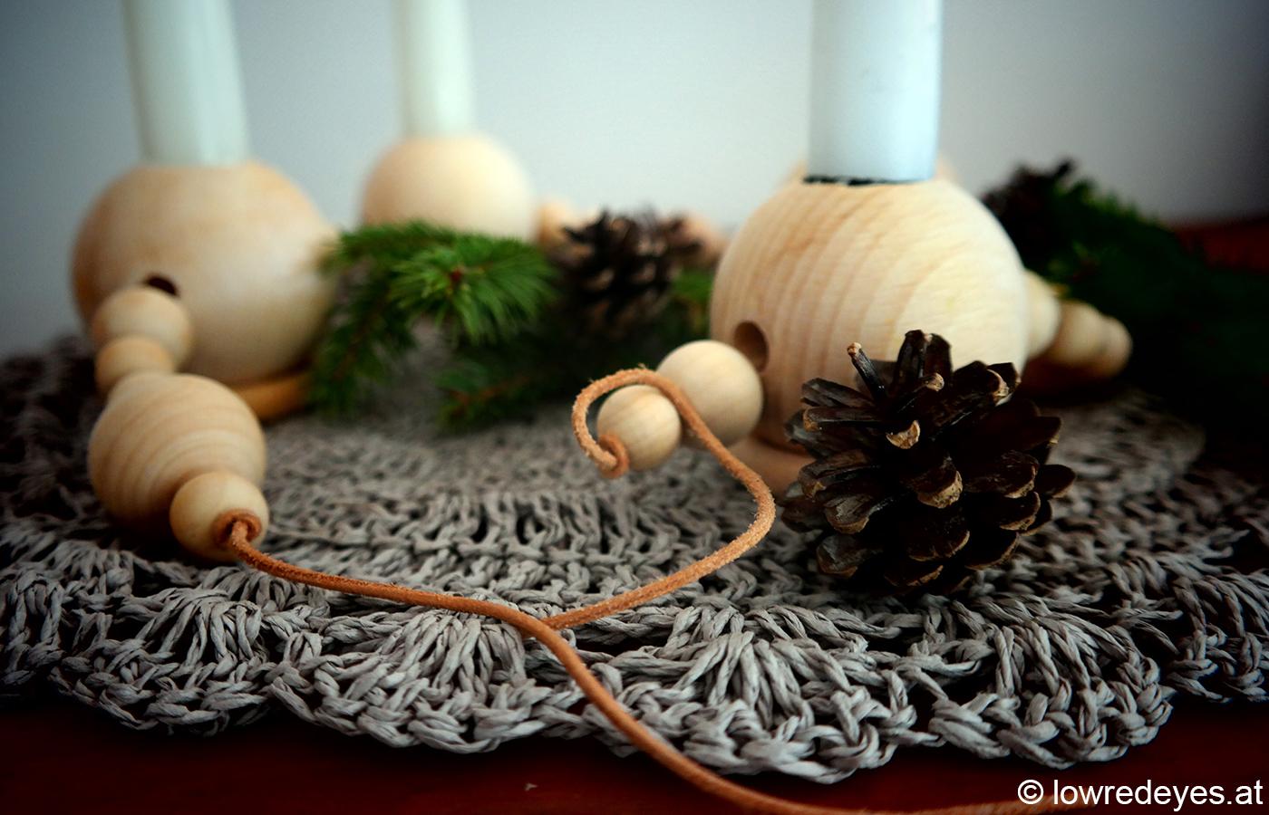 DIY Adventkranz aus Holzkugeln selber machen
