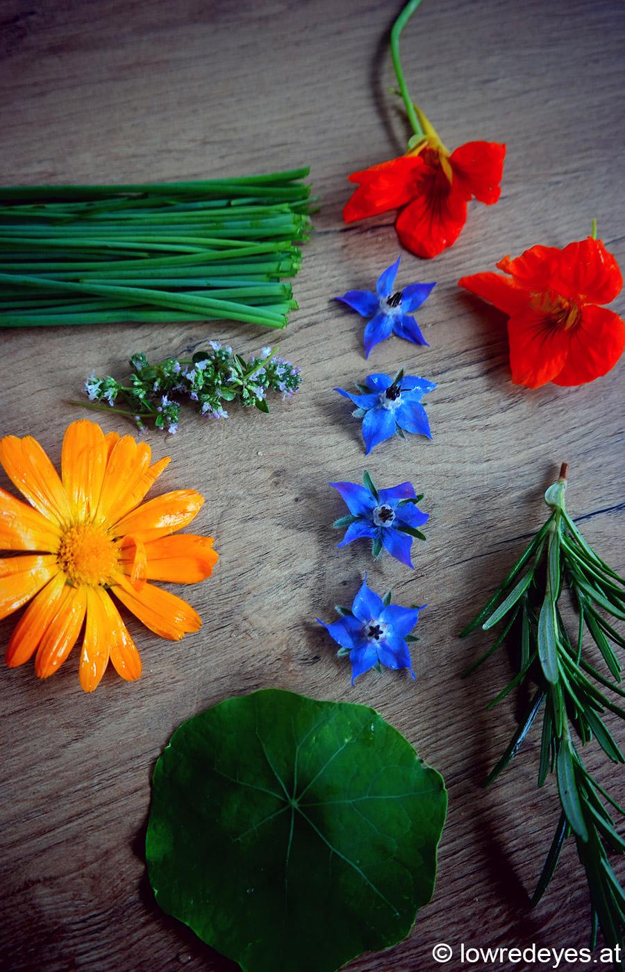 Rezept: geschüttelte Kräuterbutter mit Rosmarin, Schnittlauch, Kapuzinerkresse, Thymianblüten, Borretsch, Ringelblumen, Knoblauch, Sahne